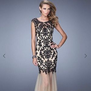 Gorgeous Ivory and Black Formal Dress